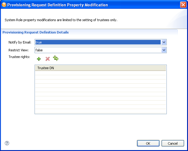 with the provisioning view open select one or more of the roles or attestation provisioning request definitions right click then select properties