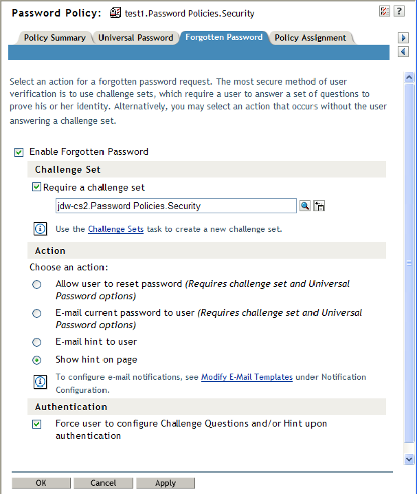 Password Self-Service - NetIQ eDirectory Administration Guide