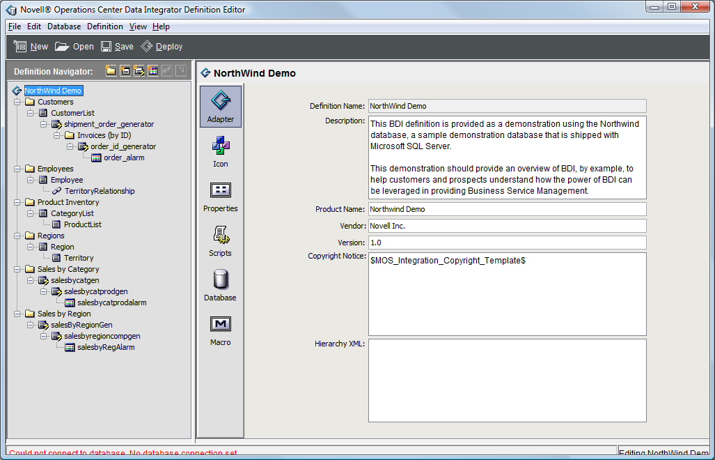 Examining the Adapter Definition Demo - Operations Center Data