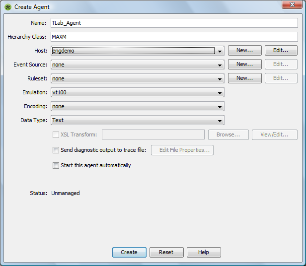Creating and Configuring an Event Manager Agent - Operations