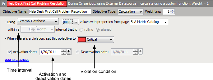 Calculation Objective For External Database Operations Center